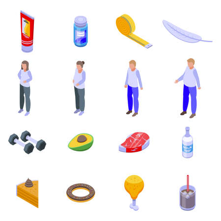 Slimming icons set. Isometric set of slimming vector icons for web design isolated on white background