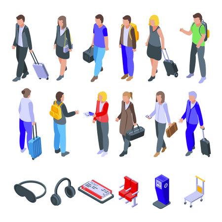 Airline passengers icons set. Isometric set of airline passengers vector icons for web design isolated on white background
