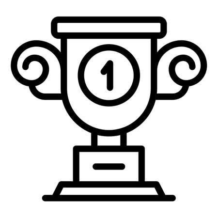 First place cup effort icon. Outline first place cup effort vector icon for web design isolated on white background 矢量图像