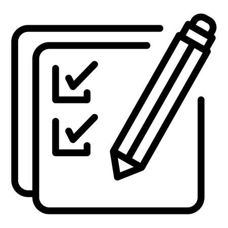 School test icon. Outline school test vector icon for web design isolated on white background