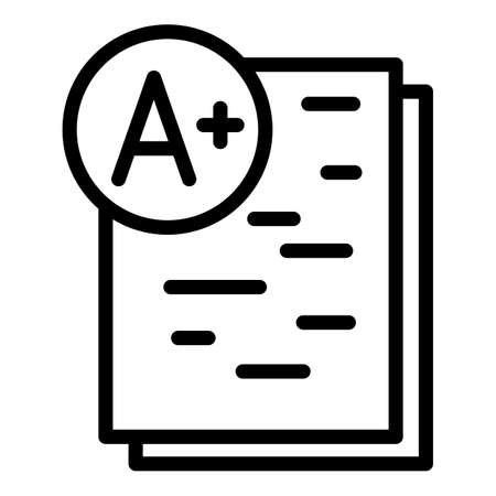Positive school test icon. Outline positive school test vector icon for web design isolated on white background