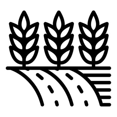 Wheat land icon. Outline wheat land vector icon for web design isolated on white background 向量圖像