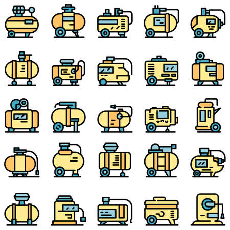 Compressor icons set. Outline set of compressor vector icons thin line color flat on white Vecteurs