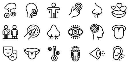 Senses icons set. Outline set of senses vector icons for web design isolated on white background