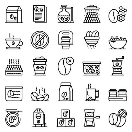 Decaffeinated coffee icons set. Outline set of decaffeinated coffee vector icons for web design isolated on white background