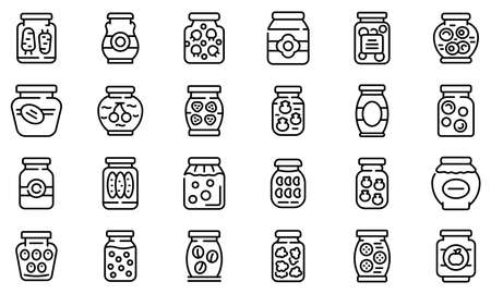 Pickled products icons set. Outline set of pickled products vector icons for web design isolated on white background