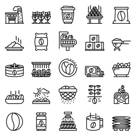 Coffee production icons set. Outline set of coffee production vector icons for web design isolated on white background