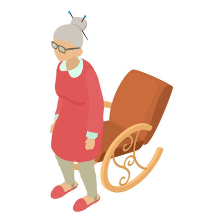 Elderly woman icon, isometric style