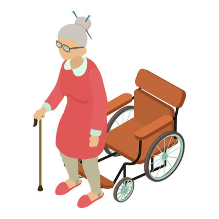 Woman disabled icon, isometric style 向量圖像