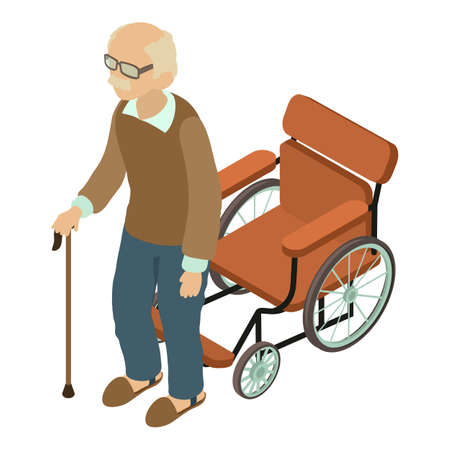 Man disabled icon, isometric style 向量圖像