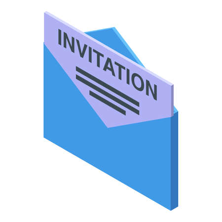Envelope invitation job icon, isometric style