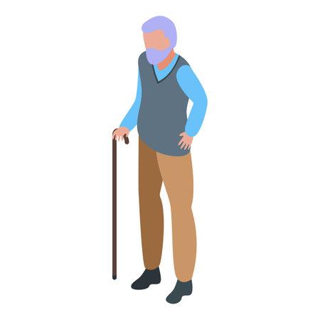 Senior man icon, isometric style 向量圖像