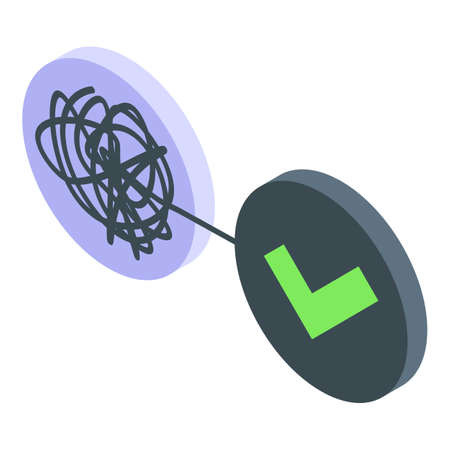 Problem solutions icon, isometric style
