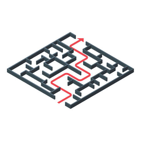 Maze solution icon, isometric style