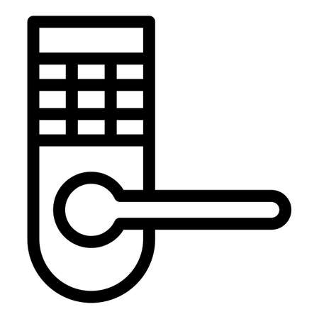 Security door handle icon, outline style