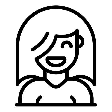 Smiling student girl icon, outline style
