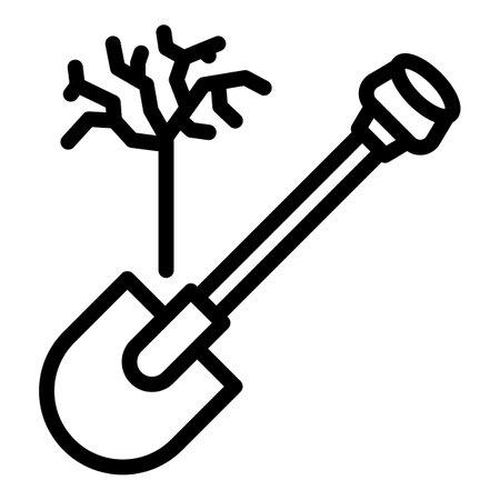 Garden spade icon, outline style