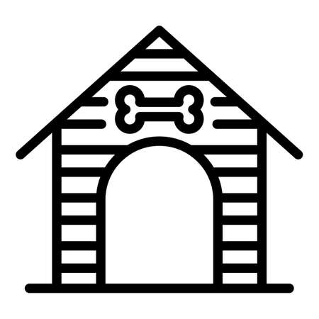Dog house icon, outline style