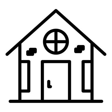 Village home icon, outline style Vector Illustratie