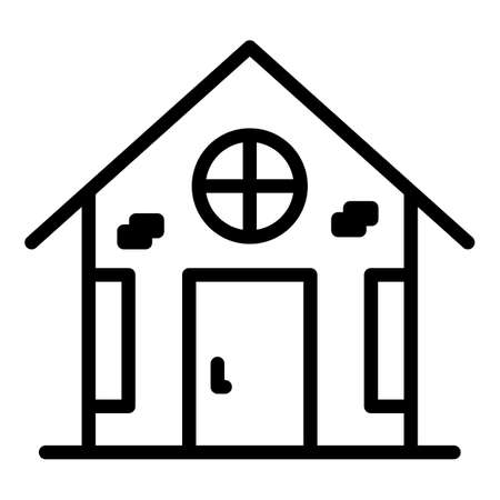 Village home icon, outline style