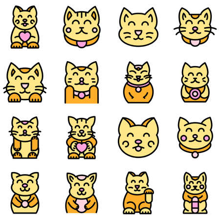 Lucky cat icons set vector flat