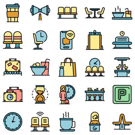 Waiting area icons set vector flat Ilustrace