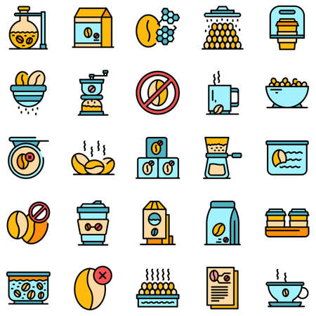 Decaffeinated coffee icons set vector flat Ilustracja