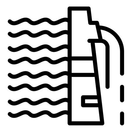 Hydro power alternative icon, outline style