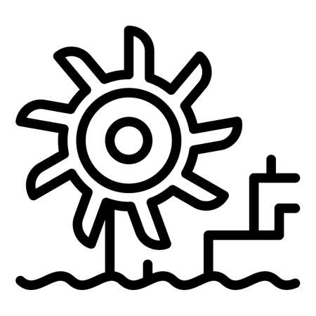 Hydro power turbine station icon, outline style
