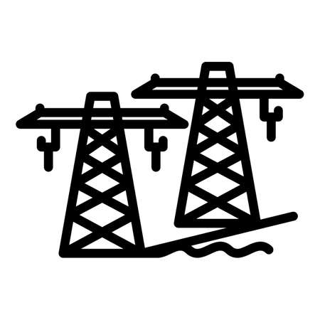 Hydro power electric tower icon, outline style
