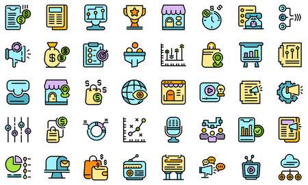 Marketing mix icons set vector flat