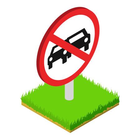 Prohibited sign icon, isometric style