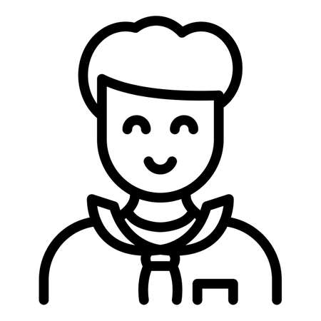 Smiling agent icon, outline style