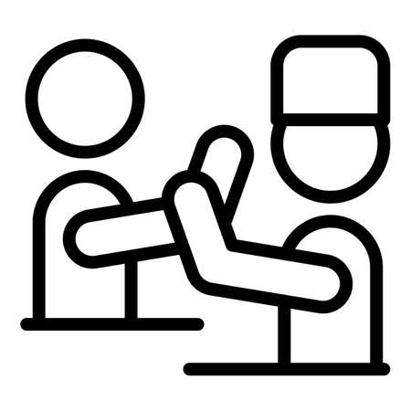 Physical rehabilitation doctor icon, outline style