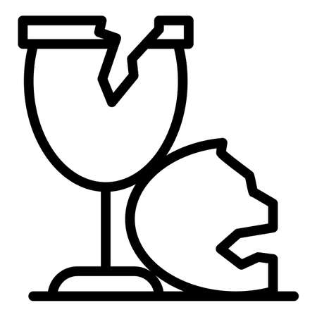 Glasses waste icon, outline style