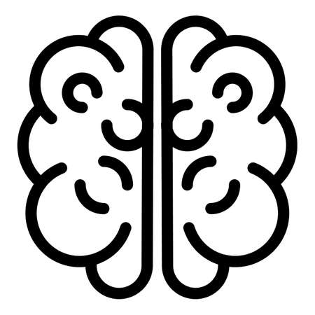 Human head brain icon, outline style