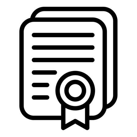 Rent certificate icon, outline style Vector Illustratie