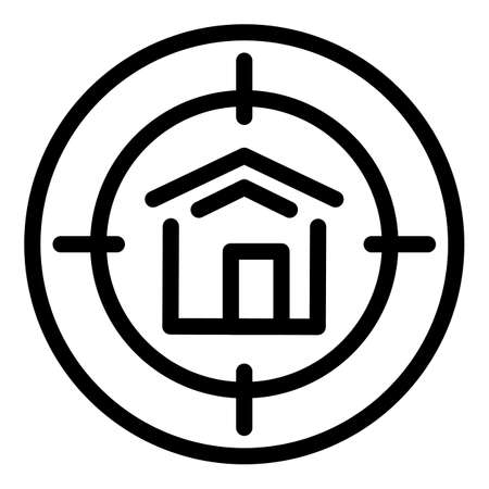 Target house icon, outline style