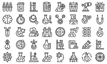 Research scientist icons set, outline style