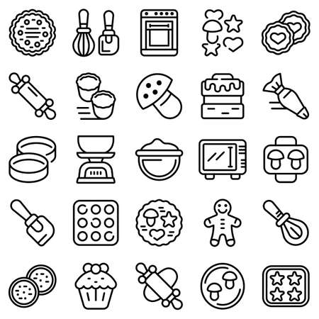 Cookie molds icons set, outline style