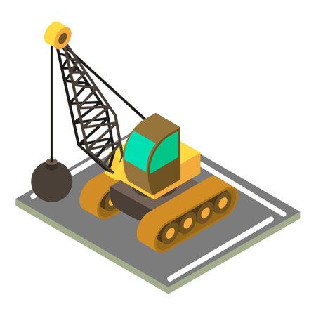 Demolition crane icon, isometric style Vektorgrafik