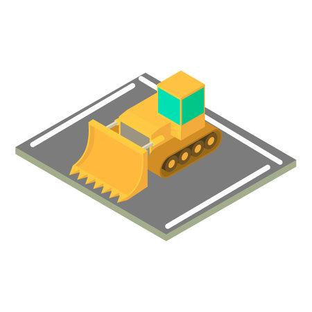 Crawler bulldozer icon, isometric style