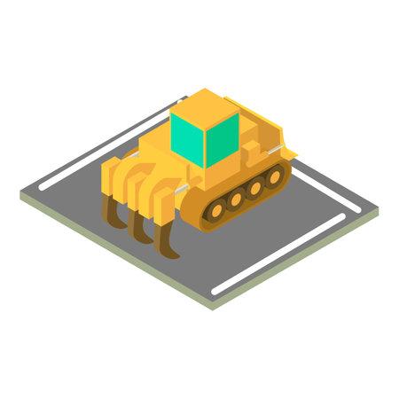 Industrial bulldozer icon, isometric style