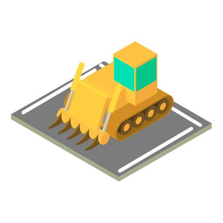Large bulldozer icon, isometric style