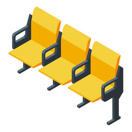 Basketball chairs icon, isometric style