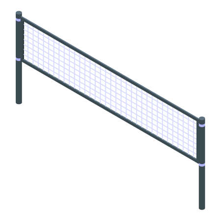 Volleyball net icon, isometric style