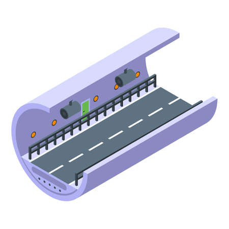 Car road tunnel icon, isometric style