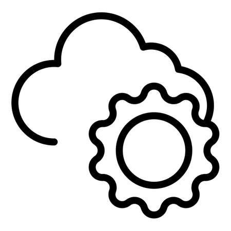 Mostly cloudy icon, outline style