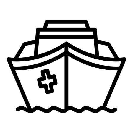 Rescue ship icon, outline style
