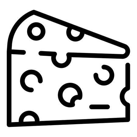Dairy cheese icon, outline style Vectores
